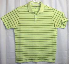 Adidas Golf Polo Shirt Men's Large L Green Striped Short Sleeve Great Oaks