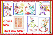 CIRCUS CLOWNS BABY - CRIB QUILT  embroidery transfers IRON-0N pattern 2238