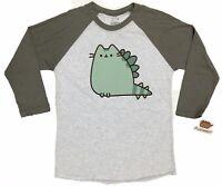 Pusheen The Cat PUSHEENOSAURUS Ladies Raglan T-Shirt NWT Licensed & Official
