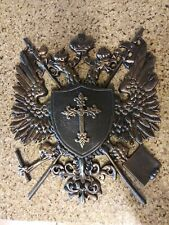 Shield, Medieval, Wall Plaque, Metal Decor, Coat of Arms, Eagle, Crown, Cross