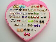 Heart Pearl Fashion Earrings 36Studs Crystal Pink Gems Various Hypoallergenic <3