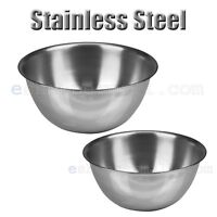 2 PCS Stainless Steel Kitchen Cooking Serving Set Mixing Bowls 2 Sizes B-21840SM
