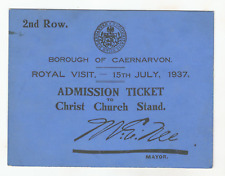 QUEEN ELIZABETH FATHER : KING GEORGE VI :1937 CORONATION TOUR : RARE TICKET