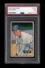 1951 Bowman BB Card #178 Ted Gray Detroit Tigers ALL-STAR 1950 PSA EX 5 !!!!