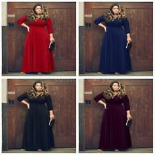 Polyester V Neck Plus Size Ballgowns for Women