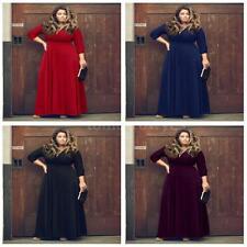 V Neck 3/4 Sleeve Formal Plus Size Dresses for Women