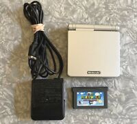 Nintendo Game Boy Advance SP Silver w/ Super Mario World Charger TESTED Platinum
