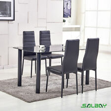 Tempered Glass Top Rectangular Dining Table Set and 4 Faux Leather Chairs Black