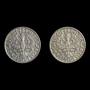 1923 Poland 20 Groszy - Lot of 2 (Legend Varieties)