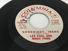 Les Paul & Mary Ford 45 rpm Radio Station Copy Lonely Guitar Goodnight Irene