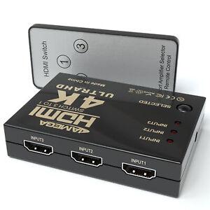 HDMI Switch 4K 30hz 3 in 1 HDMI Umschalter mit Fernbedienung 3 Port Verteiler