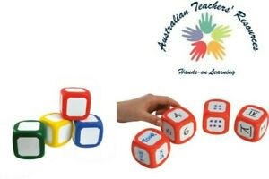 Set of 2 Write on Wipe Off Dice Red 5cm Cubes Primary Teachers Resources School