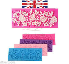 Sugar Lace Edible Leaf Vine Flower Silicone Embossing Impression Mat Mould Cake