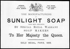 1892 Antique Print - ADVERTISING Sunlight Soap Gold Medal Paris Warrant  (49)