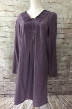 J Jill   Women's XS Purple Silk Blend  V- Neck Smocked Shirt Dress Long Sleeve