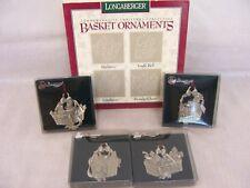 1997 Longaberger Pewter Basket Ornaments Set,Batberry,Jingle Bell,Cranberry,Holi