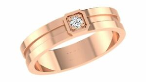 0.07 Ct Diamond Round Brilliant Cut Band 14K Solid Rose Gold Men's Ring Size 8 9