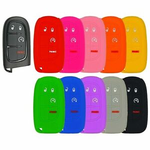 Silicone Protective Rubber Keyless Remote Fob Smart Key Cover For Case Ram Jeep