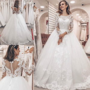 Princess Wedding Dresses Long Sleeve Lace Appliques Tulle Charming Bridal Gowns