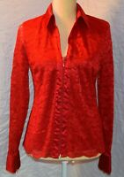 Red Lace Top Womens Long Sleeve Lined Zip Front Size Medium Dressy Blouse Shirt