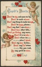 Cupid's Don'ts. Don't be shy & pass me by, Don't be such a tease...1908 Postcard
