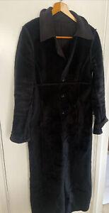 LOVELY Be Be Vintage Black Reversible Faux Fur Long Coat size L