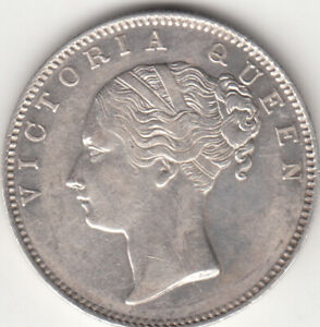 1840 BRITISH INDIA QUEEN VICTORIA ONE RUPEE SILVER COIN CONTINEOUS TYPE