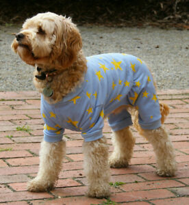 Blue Dog pyjamas 25cm small to 50cm xxxlarge dogs, blue fleece 4 legs NEW