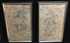 Set of Two Paul Klee Framed Prints- Man and Woman Individually Same Stylizations