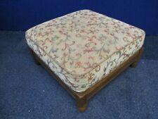 ERCOL Bergere Footstool, Solid Elm Frame, Beige Floral Design, 54 x 54cm, 30cm H