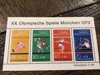 Stamps Olympics Munich 1972 S/S MNH Germany 🇩🇪 SC# 608-11, MNH