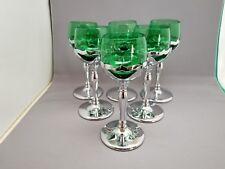 6 Farber Brothers Krome Kraft Cambridge Forest Green Liquor Cocktail Glasses