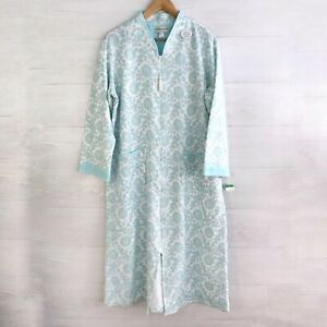NWT Miss Elaine Petites - Blue floral quilted full zip gown robe, PL