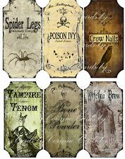 Vintage inspired Halloween 6 large bottle label stickers scrapbooking crafts