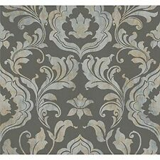 Charcoal Contempo Damask Wallpaper Double roll