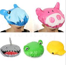 Cute Cartoon Animal Shower Cap Hat Bath Waterproof Kids Travel Hair Protector