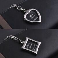 Alloy DIY Metal Photo Frame Picture Holder Car Key Chain Pendant Gift Keyring Ku