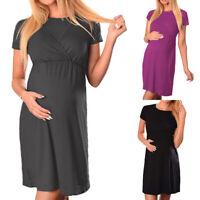 Women's Solid Maternity Nursing Breastfeeding Pregnant Short Sleeve Summer Dress