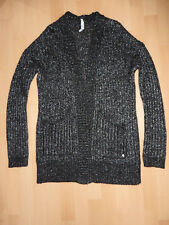 Adidas neo Damenstrickjacke schwarz mit metallischen Silberfäden Gr.XS top