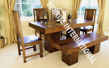 Tuscany Range - Wooden Wood Dining table with 4 Chair & 1 Bench set (6 pc set)