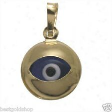 3D Round Evil Eye Luck Charm Pendant Real 14K Yellow Gold 1.0gr