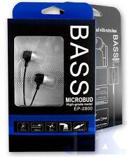 Bass Microbud EP-2800-4 Black Aluminum Earbuds Earphones Headphones High Quality
