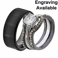 Wedding Ring Sets Tungsten Men Band Jt His & Hers Stainless Steel Cushion Cz