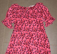 Juicy Couture girls dress pink dots silk charmeuse puff sleeves EUC 14 occasion