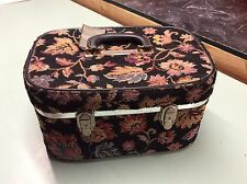 Vintage Tapestry Makeup Cosmetic Train Travel Hard Case Carry On Luggage