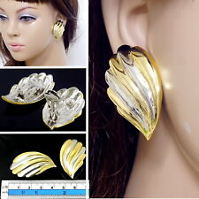 #E122B New 4cm CLIP ON EARRINGS Quality Wing Feather Gold Plated Stylish Party