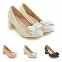 Women Bowknot Sequins Glitter Round Toe Chunky Low Heel Pumps  Casual Shoes B