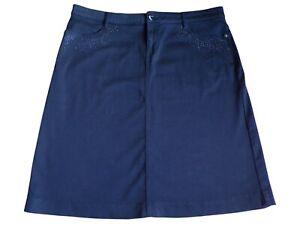 Per Una Black Beaded Skirt Size 18 Stretch Straight
