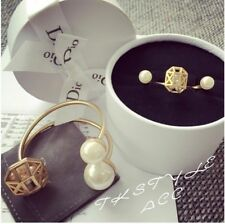 2 Pcs Fashion Elegant Gold Hollow Double Pearl Ring Bracelet Cuff Set