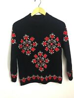 Vtg 40s Women's Ski Sweater Black Red Wool Cift Geyik Turkish Turkey Sz M 36 G3